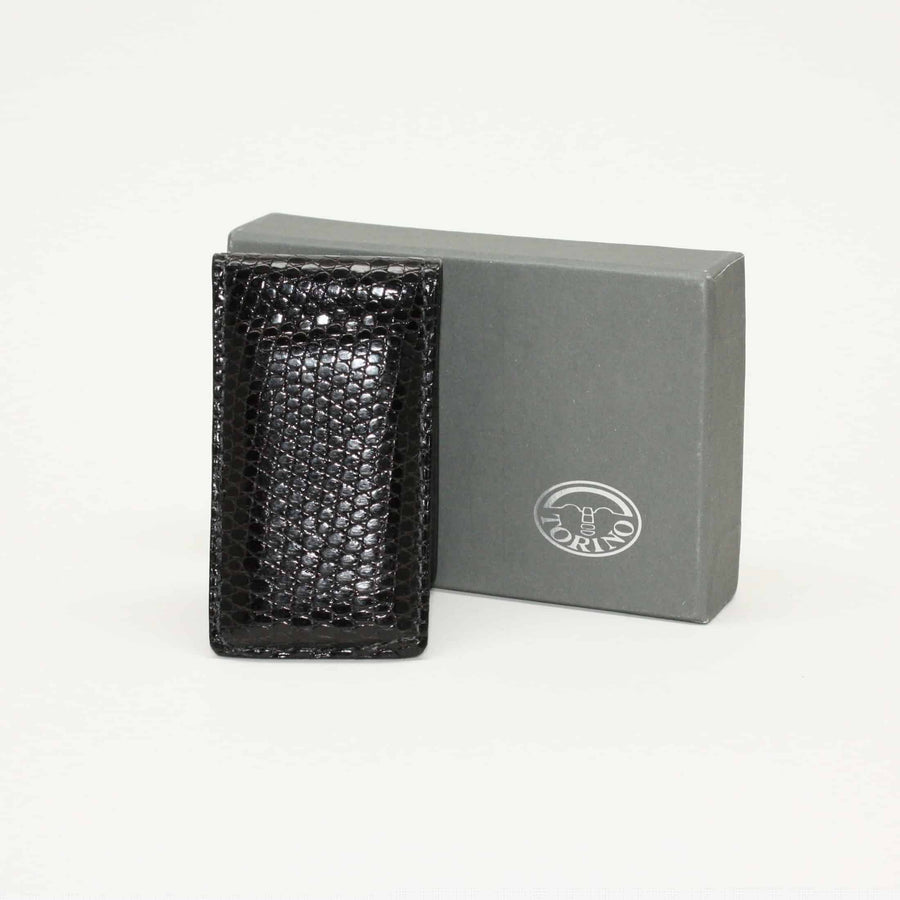Genuine Lizard Magnetic Money Clip in Black by Torino Leather