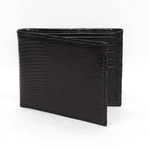 Genuine Lizard Billfold Wallet in Black by Torino Leather