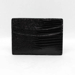 Genuine Lizard Card Case in Black by Torino Leather