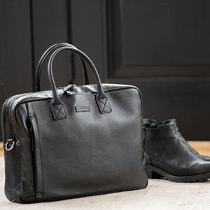 Sloan Attaché in Black Leather by Baekgaard
