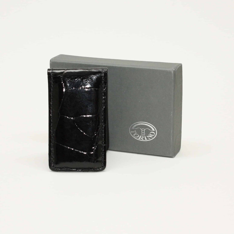 Alligator Magnetic Money Clip in Black by Torino Leather