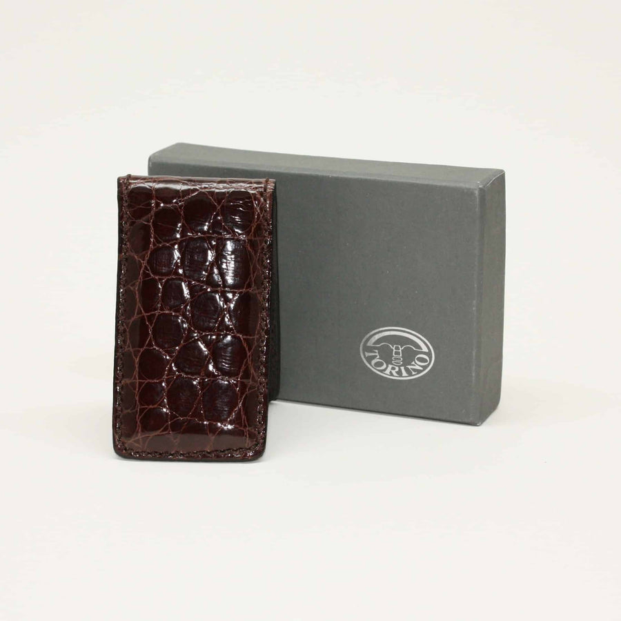 Alligator Magnetic Money Clip in Brown by Torino Leather