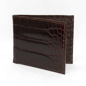 Genuine Alligator Billfold Wallet in Brown by Torino Leather