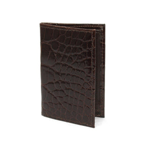 Genuine Alligator Gusseted Cardcase in Brown by Torino Leather
