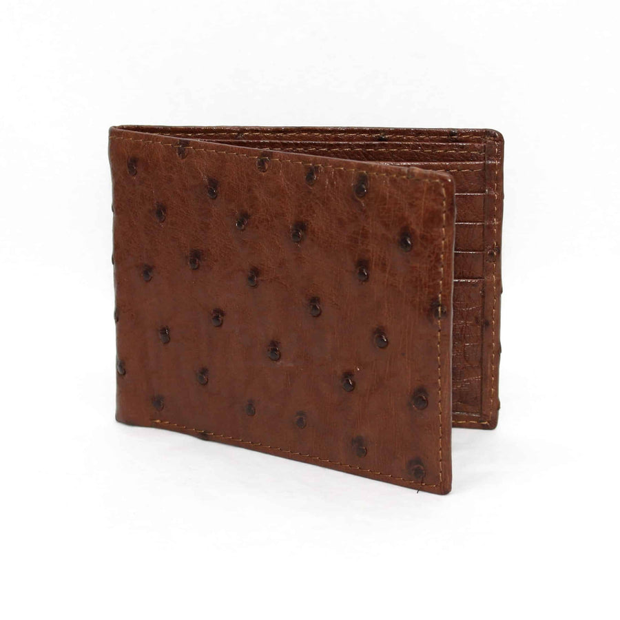 Genuine Ostrich Billfold Wallet in Brown by Torino Leather