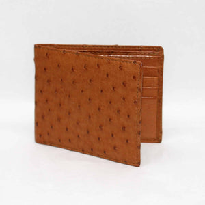Genuine Ostrich Billfold Wallet in Saddle by Torino Leather