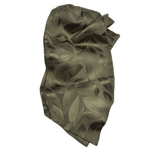 Olive Green Tonal Floral Silk Satin Woven Jacquard Ascot by Dion