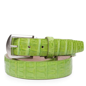Genuine Caiman Crocodile Belt in Lime by L.E.N. Bespoke