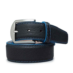 American Bison Belt in Black with Denim Blue Edge by L.E.N. Bespoke