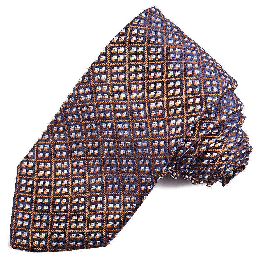 Navy, Rust, and Sky Diamond Geometric Plaid Woven Silk Jacquard Tie by Dion Neckwear