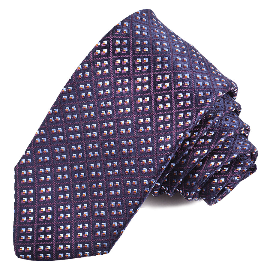 Navy, Purple, and Sky Diamond Geometric Plaid Woven Silk Jacquard Tie by Dion Neckwear