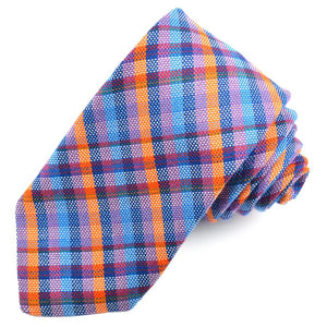 Blue, Orange, and Lilac Multi Plaid Cotton and Silk Woven Jacquard Tie by Dion Neckwear
