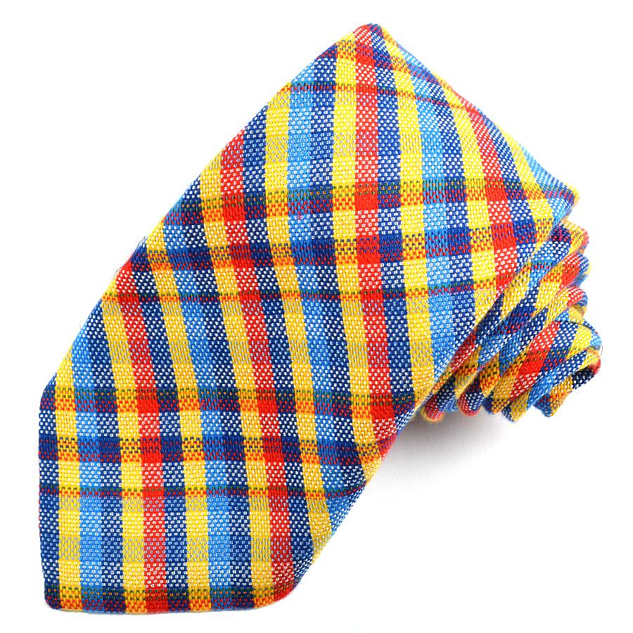 Yellow, Red, and Royal Multi Plaid Cotton and Silk Woven Jacquard Tie by Dion Neckwear