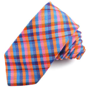 Orange, Pink, and Royal Multi Plaid Cotton and Silk Woven Jacquard Tie by Dion Neckwear