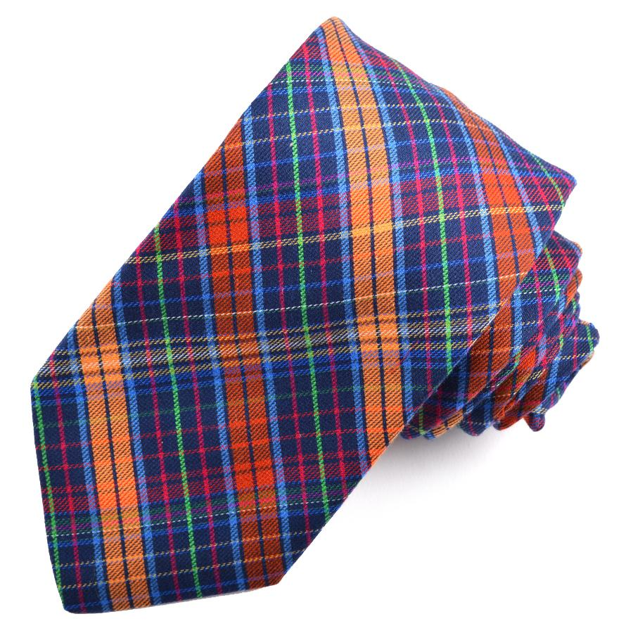 Navy and Orange Multi Plaid Cotton and Silk Woven Jacquard Tie by Dion Neckwear