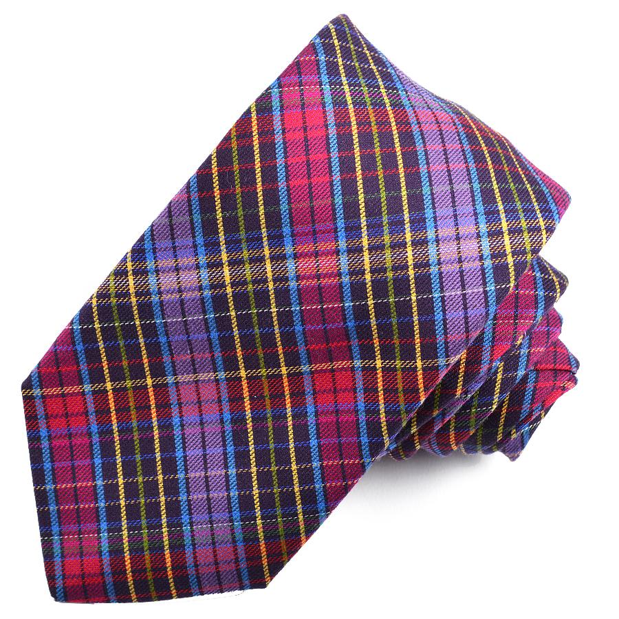 Eggplant and Berry Multi Plaid Cotton and Silk Woven Jacquard Tie by Dion Neckwear
