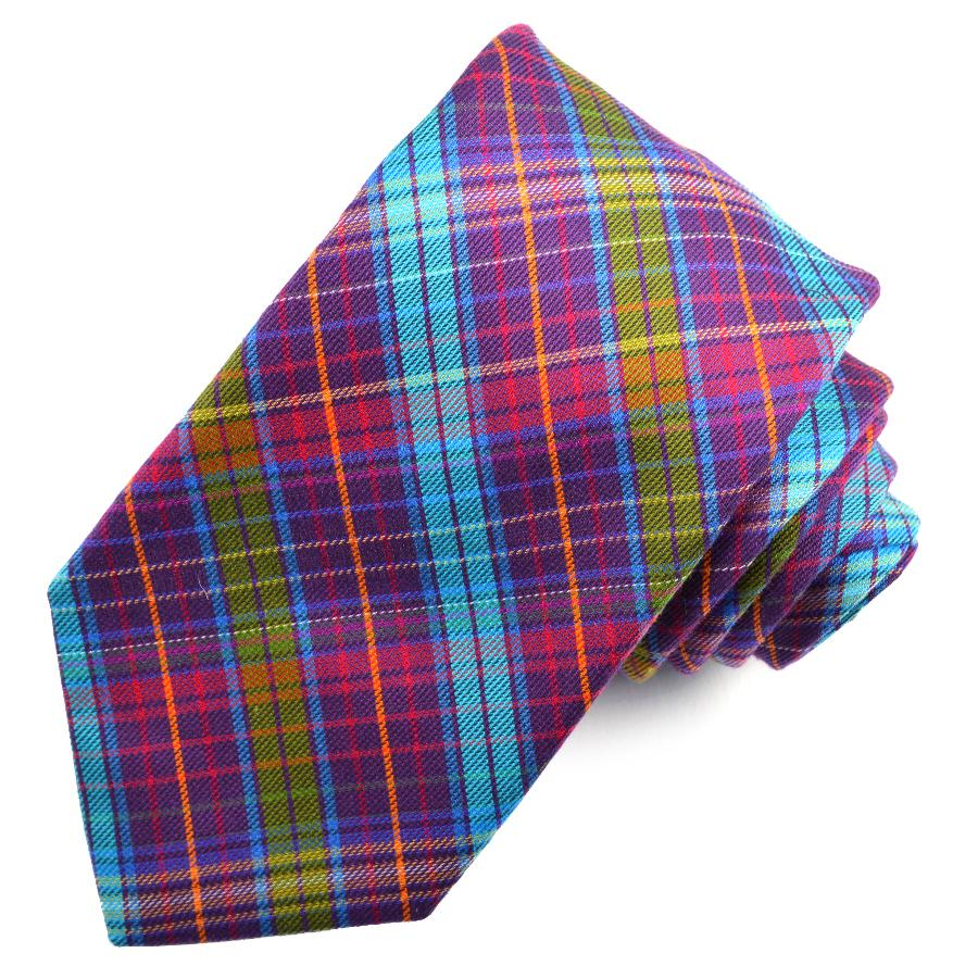 Purple and Teal Multi Plaid Cotton and Silk Woven Jacquard Tie by Dion Neckwear