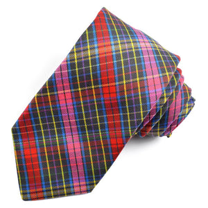 Grey, Pink, and Red Multi Plaid Cotton and Silk Woven Jacquard Tie by Dion Neckwear