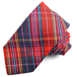 Orange, Red, and Grey Multi Plaid Cotton and Silk Woven Jacquard Tie by Dion Neckwear