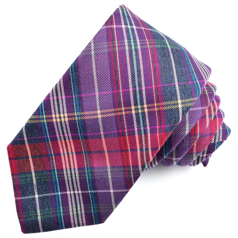 Purple and Grey Multi Plaid Cotton and Silk Woven Jacquard Tie by Dion Neckwear