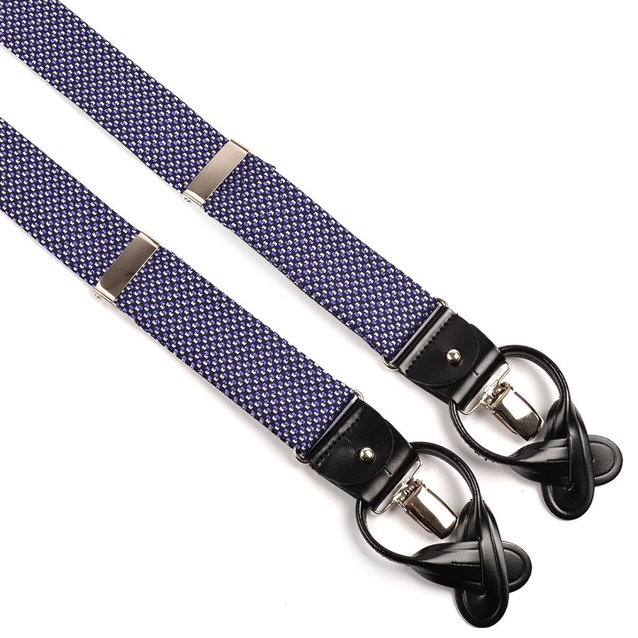 Navy, Purple, and White Micro Neat Silk Woven Jacquard Suspenders by Dion