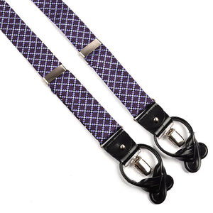 Plum and Lavender Checkerboard Medallion Silk Woven Jacquard Suspenders by Dion