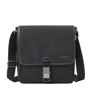 Mid Messenger Bag in Black Brushed Microfiber by Baekgaard