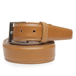 Italian Calf Belt in Camel with Camel Stitching by L.E.N. Bespoke