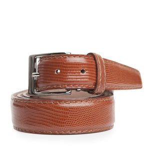 Genuine Lizard Belt in Cognac by L.E.N. Bespoke