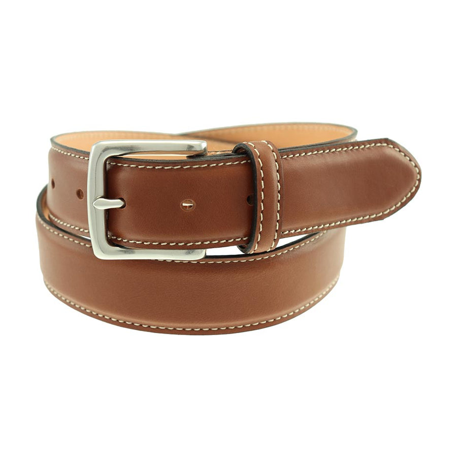 Colombia Leather Dress Belt in Burnished Tan Waxy by T.B. Phelps
