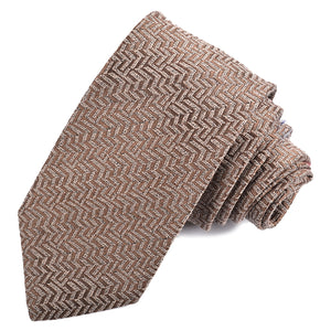 Taupe Chevron Woven Wool and Silk Jacquard Misto Tie by Dion Neckwear