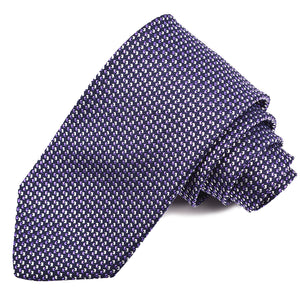Navy, Purple, and White Micro Neat Woven Silk Jacquard Tie by Dion Neckwear