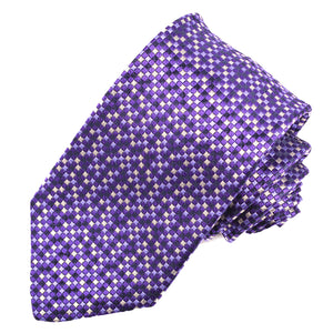 Purple, Lilac, and Navy Micro Mosaic Woven Silk Jacquard Tie by Dion Neckwear