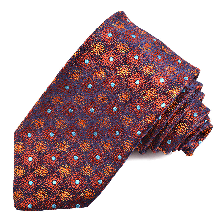 Navy, Rust, and Orange Speckled Dot Woven Silk Jacquard Tie by Dion Neckwear