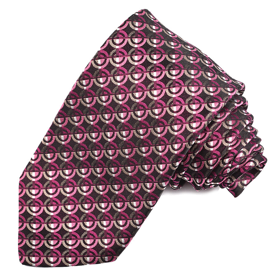 Black, Berry, and Tan Dot Geometric Woven Silk Jacquard Tie by Dion Neckwear