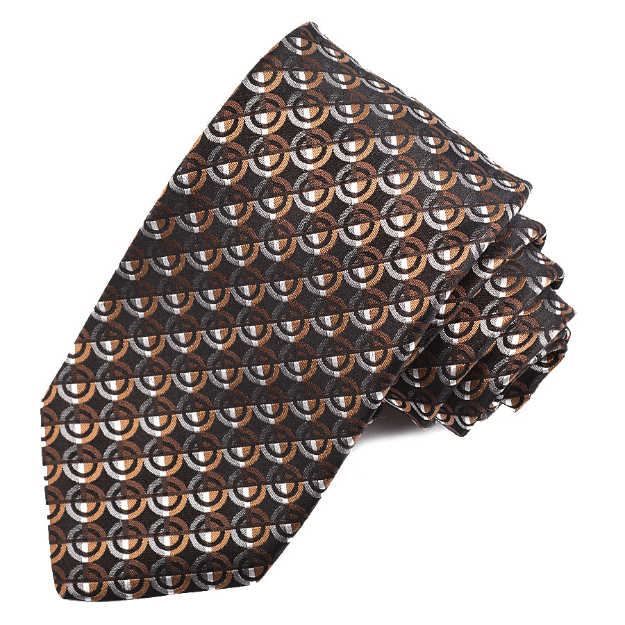 Black, Tan, and Grey Dot Geometric Woven Silk Jacquard Tie by Dion Neckwear
