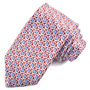 Red, Sky, and White Geometric Pebble Rock Woven Silk Jacquard Tie by Dion Neckwear