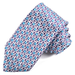 Purple, Teal, and White Geometric Pebble Rock Woven Silk Jacquard Tie by Dion Neckwear
