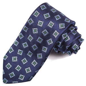 Navy, Sky, and Green Geometric Medallion Woven Silk Jacquard Tie by Dion Neckwear