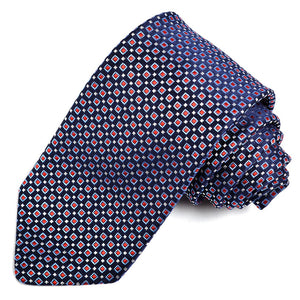 Navy, Sky, Red, and White Micro Square Medallion Woven Silk Jacquard Tie by Dion Neckwear