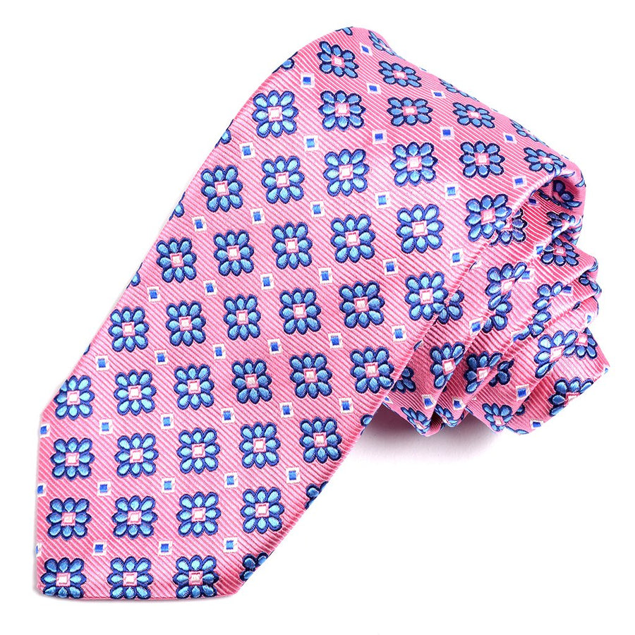 Pink and Blue Faille Floral Check Medallion Woven Silk Jacquard Tie by Dion Neckwear