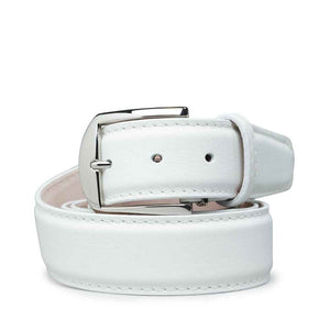 Italian Pebble Grain Calf Belt in White with White Stitching by L.E.N. Bespoke