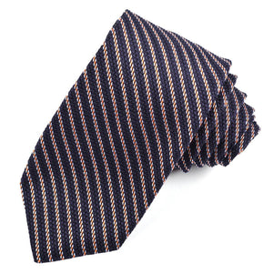 Navy, Orange, and Sky Mini Stripe Grand Grenadine Italian Silk Tie by Dion Neckwear