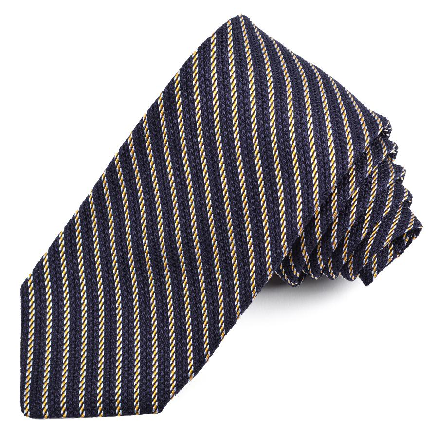 Navy, Gold, and Sky Mini Stripe Grand Grenadine Italian Silk Tie by Dion Neckwear