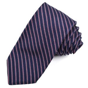 Navy, Pink, and Silver Mini Stripe Grand Grenadine Italian Silk Tie by Dion Neckwear