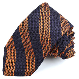 Navy and Orange Bar Stripe Garza Grossa Grenadine Italian Silk Tie by Dion Neckwear