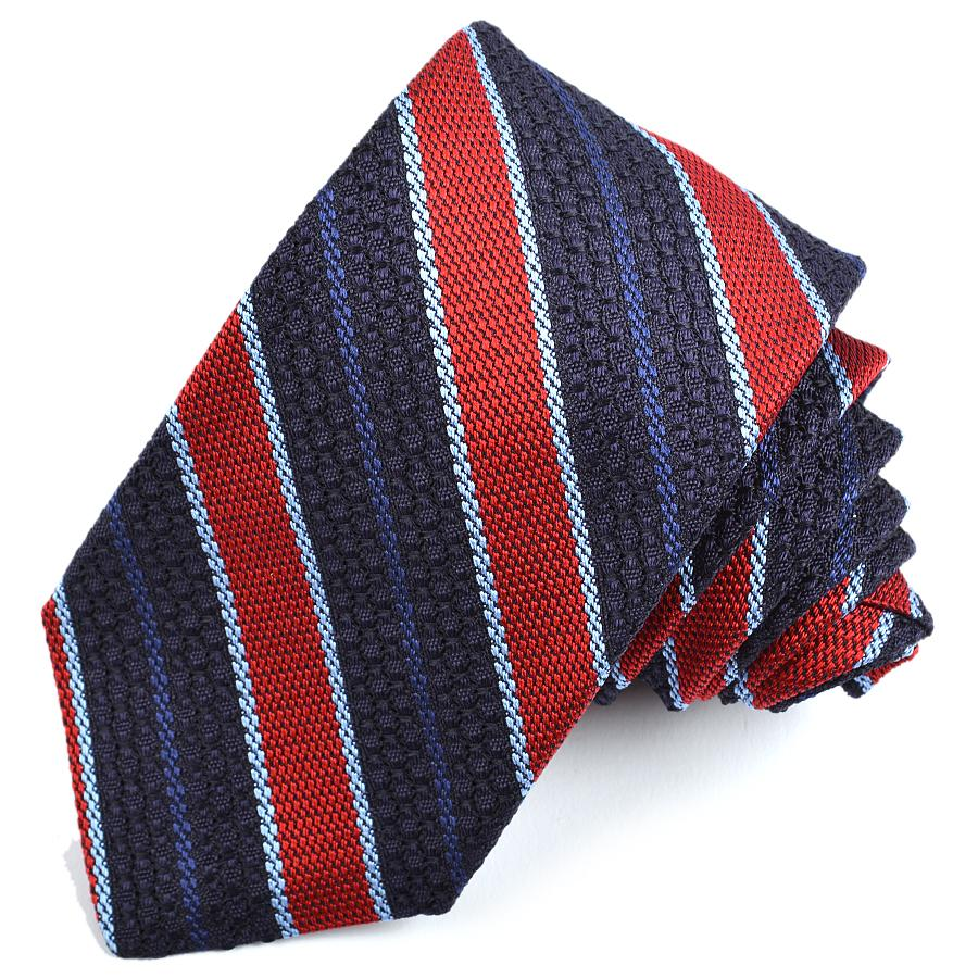 Navy, Red, and Sky Textured Stripe Garza Grossa Grenadine Italian Silk Tie by Dion Neckwear