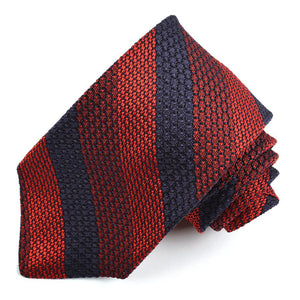 Red, Wine, and Navy Bar Stripe Garza Grossa Grenadine Italian Silk Tie by Dion Neckwear