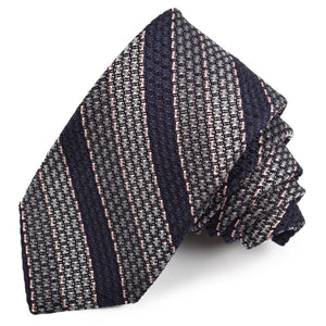 Grey, Navy, and Pink Stripe Garza Grossa Grenadine Italian Silk Tie by Dion Neckwear