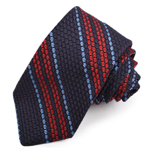 Navy, Red, and French Blue Stripe Garza Grossa Grenadine Italian Silk Tie by Dion Neckwear